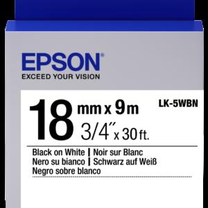 Epson Cinta Negra Blanca LK-5WBN 18mm