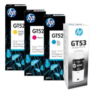 HP Juegos de tintas GT53 GT52 Negro y Colores 1VV22AL M0H055 M0H056 M0H057