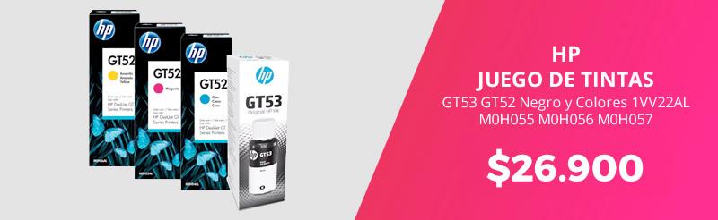 juego de tintas hp gt53 gt52 negro y colores 1vv22al m0h055 m0h056 m0h057